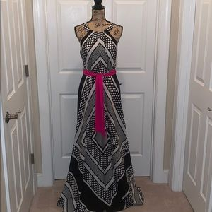 Black and white Scarf Print Dress